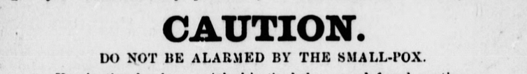 Text reading 'CAUTION. Do not be alarmed by the small-pox'